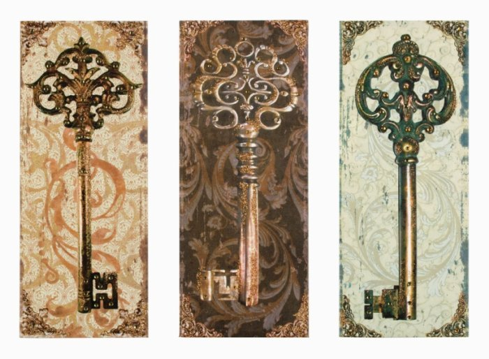 Wall Decor Vintage Keys : New set of skeleton key canvas prints shabby vintage wall