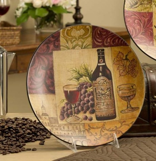 Tuscan Kitchen Art: New WINE DECORATIVE PLATE Gold Green TUSCAN Wall Decor Accent GRAPES Kitchen Art