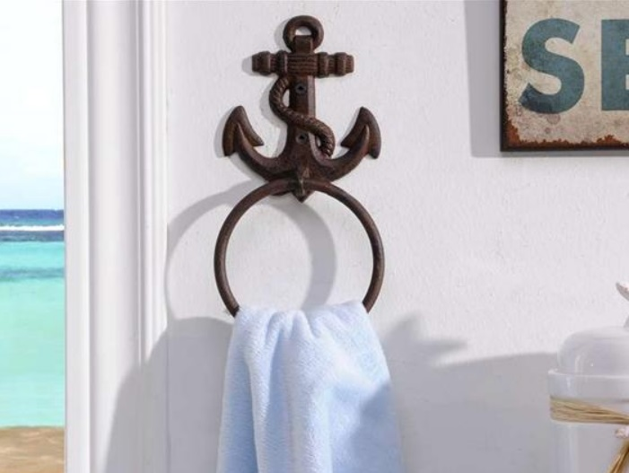 Coastal Bath Decor: New Cast Iron Nautical Anchor Wall Mount Towel Bar Ring