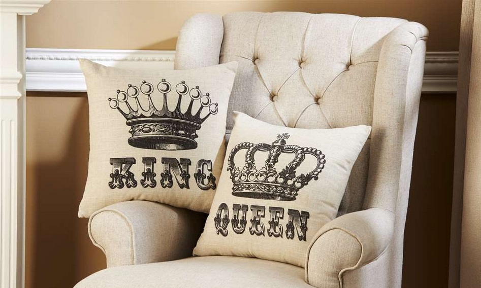 New King Queen Crowns Decorative Throw Pillow Set His & Hers Elegant Decor Sofa eBay