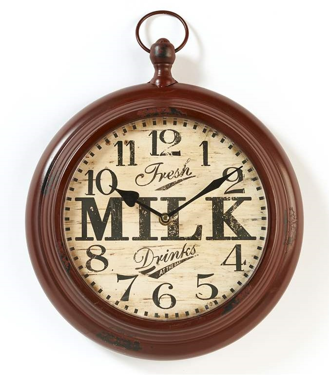 New Distressed Country Milk Wall Clock Rustic Faux Vintage