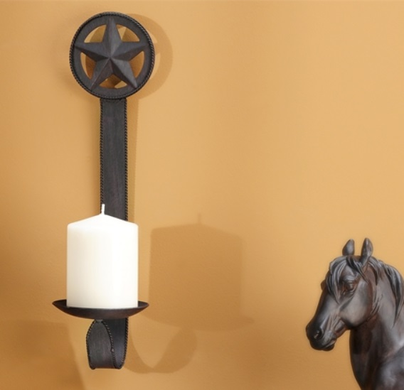 Western Wall Sconces With Candles : Western Black Rustic Star Sconce Candle Holder Pillar Country Hanging Wall Decor eBay