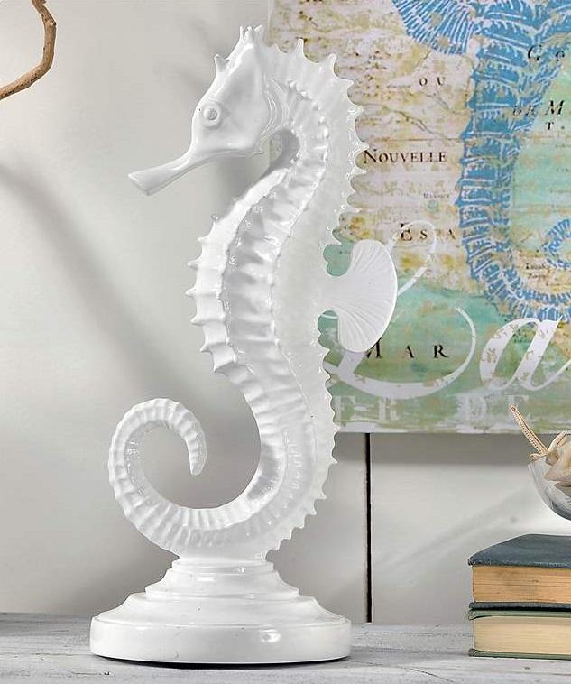 "Seahorse Home Decor Wall Art Coastal Decor By Seashoresecrets: 12"" Ceramic WHITE SEAHORSE STATUE Beach Home Decor"