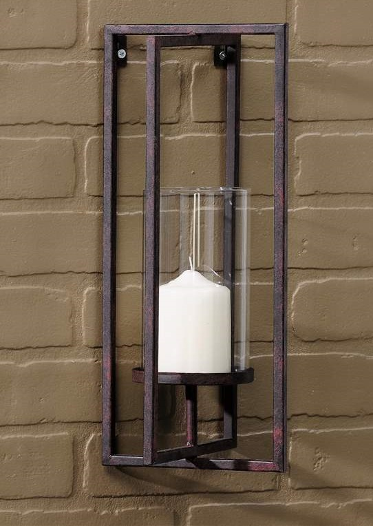 Iron Candle Holder Wall Sconce : Rustic Brown Wrought Iron Pillar Wall Candle Holder Sconce