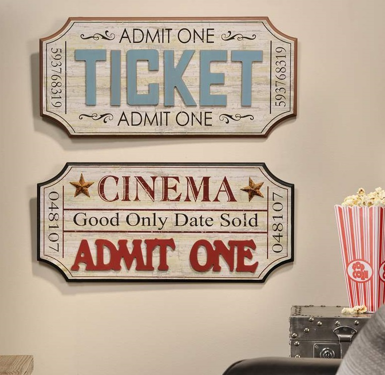 Vintage Theater Movie Ticket Wall Plaque Home Decor Accent Home Decorators Catalog Best Ideas of Home Decor and Design [homedecoratorscatalog.us]