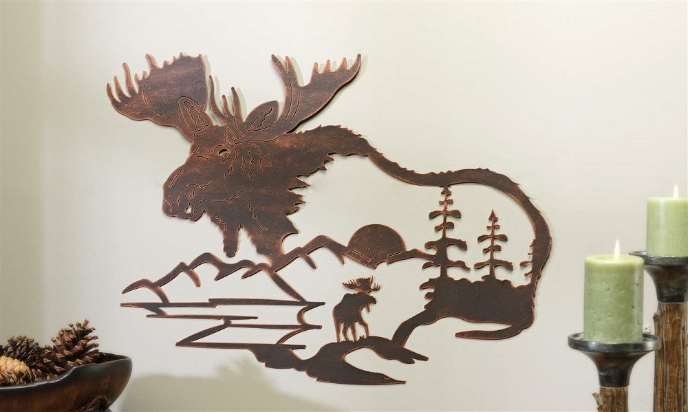 Rustic Copper Cutout Moose Wall Sculpture Country Home Decor Accent 25