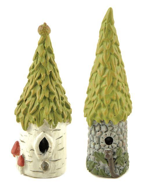 Details about 2 pc mini fairy garden tree statues miniature dollhouse