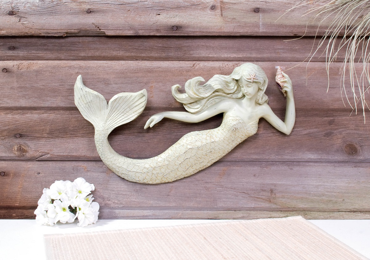 16 mermaid wall sculpture decoration nautical 3d plaque for Resin wall art