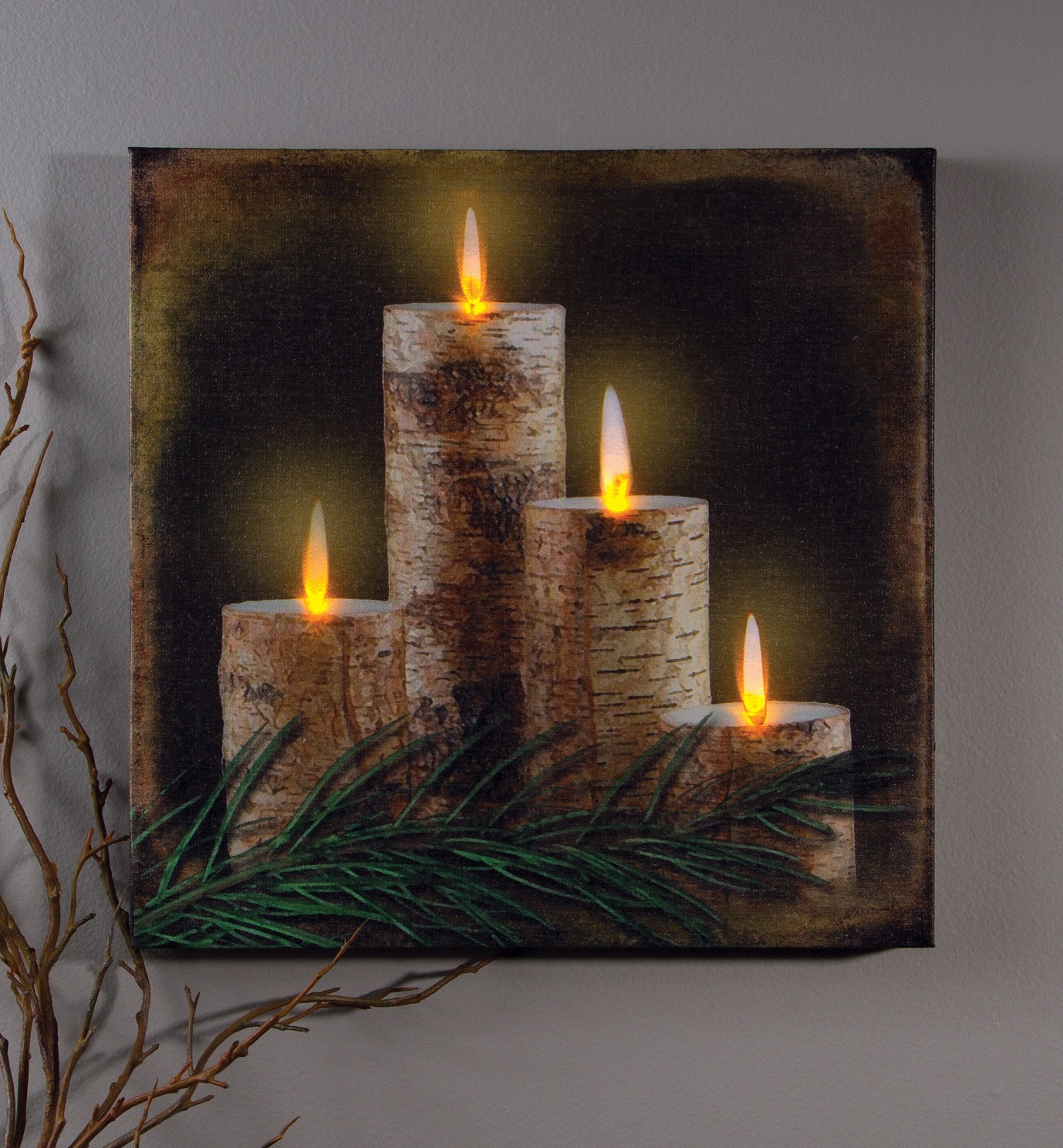 Wall Lights That Look Like Candles : Rustic Country Pre-Lit LED BIRCH TREE CANDLE PRINT Wall Decor Lighted Picture eBay