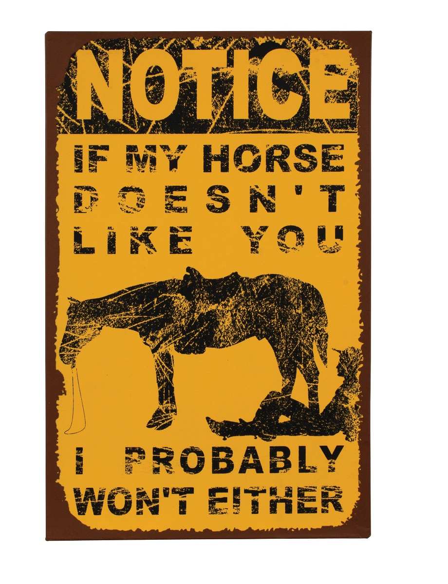 Funny Vintage Western Horse Doesn T Like You Metal Sign