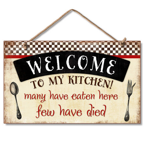 Funny Kitchen Signs: New Wood Hanging Wall Sign WELCOME TO KITCHEN Retro Funny