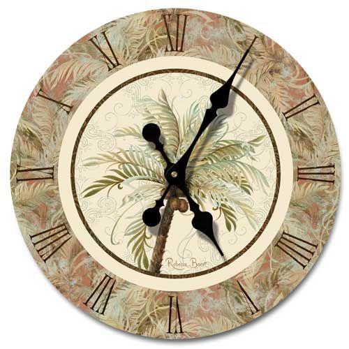 new palm tree coconut wood wall clock beach coastal tropical decor key west art ebay. Black Bedroom Furniture Sets. Home Design Ideas