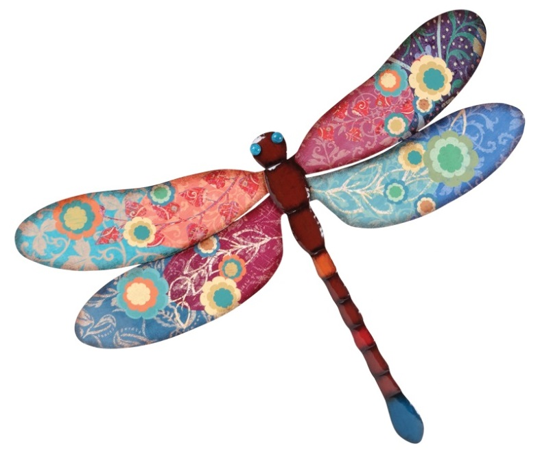 Outdoor Wall Decor Dragonfly : New xl colorful print metal dragonfly plaque floral