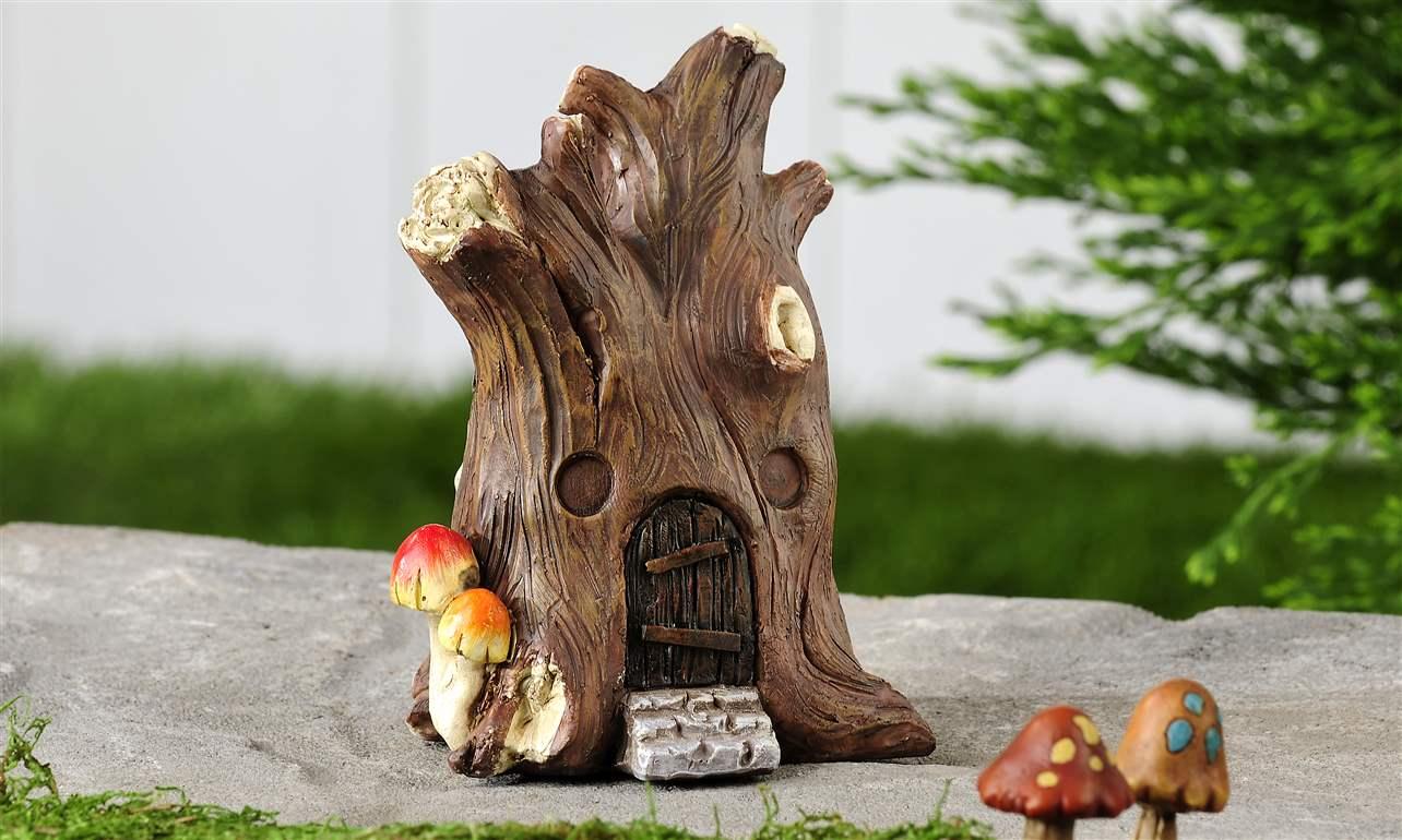 Gnome Tree Stump Home: Miniature Tree Stump Fairy House Mini Garden Décor