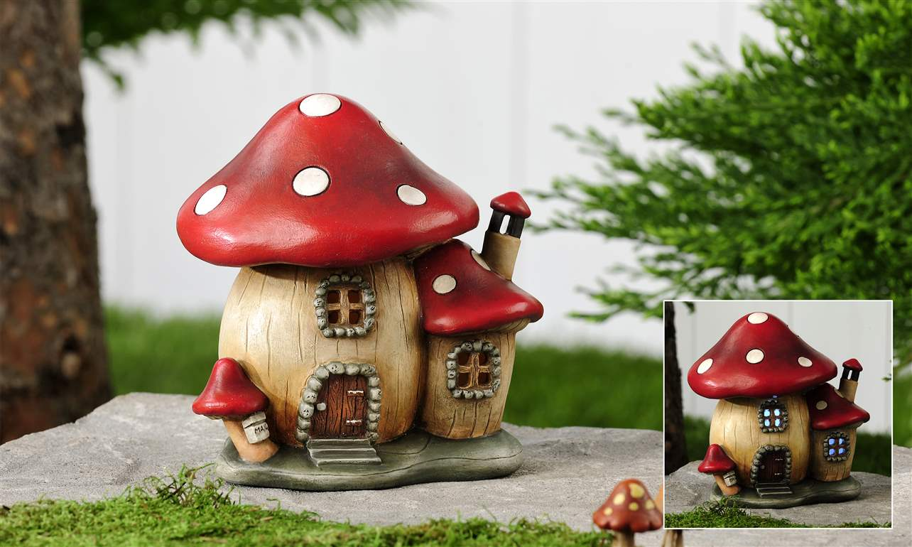 Gnome Garden: Lighted Mushroom House /Cottage, Miniature Fairy,Gnome