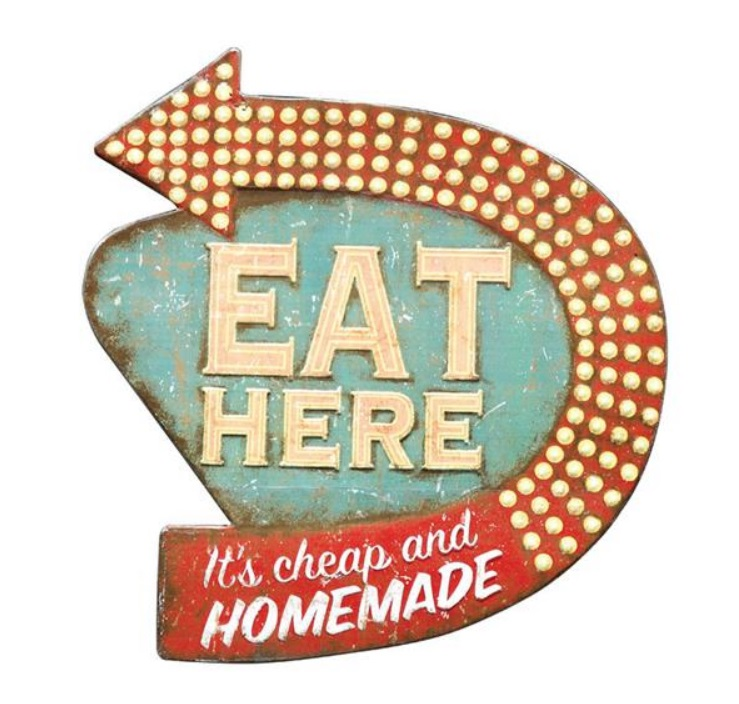 "16"" Vintage Distressed EAT HERE Faux NEON LIGHT RETRO"
