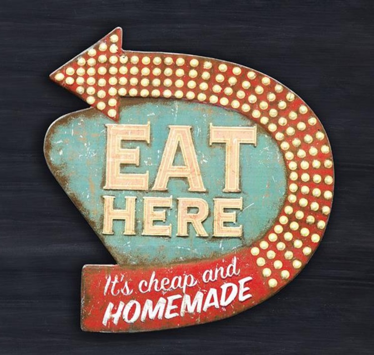"""Light Up Kitchen Signs: 16"""" Vintage Distressed EAT HERE Faux NEON LIGHT RETRO"""