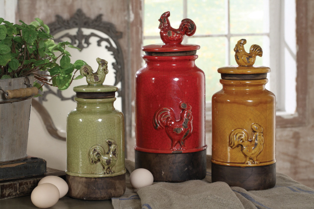 Details About New 3pc Kitchen Storage Rooster Canisters Rustic Vintage