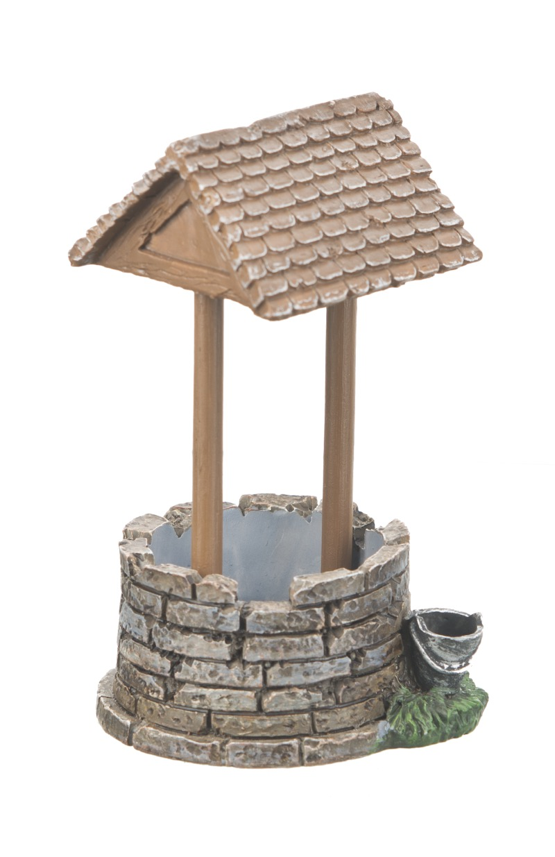 Fairy garden country miniature wishing well mini figurine for Decorative garden accessories