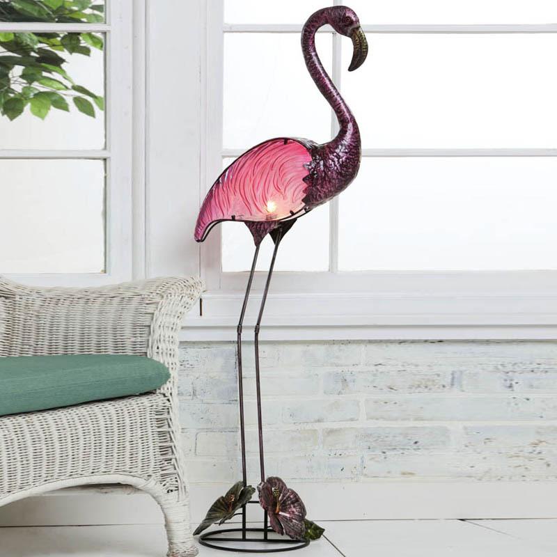 New Handpainted Glass Indoor Outdoor Pink Flamingo Floor