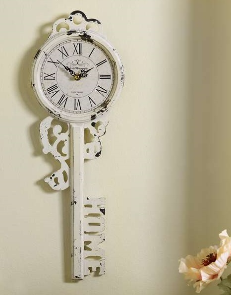 Wall Decor Vintage Keys : New white chipped paint skeleton key wall clock quot home