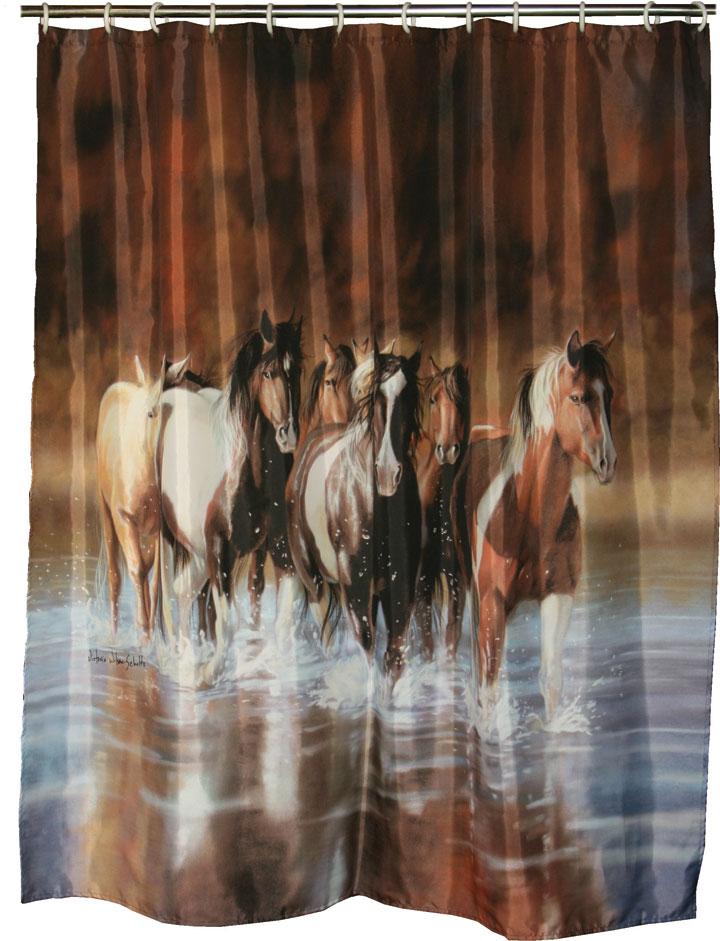NW Horse Stampede SHOWER CURTAIN Western Bath Decor Rustic