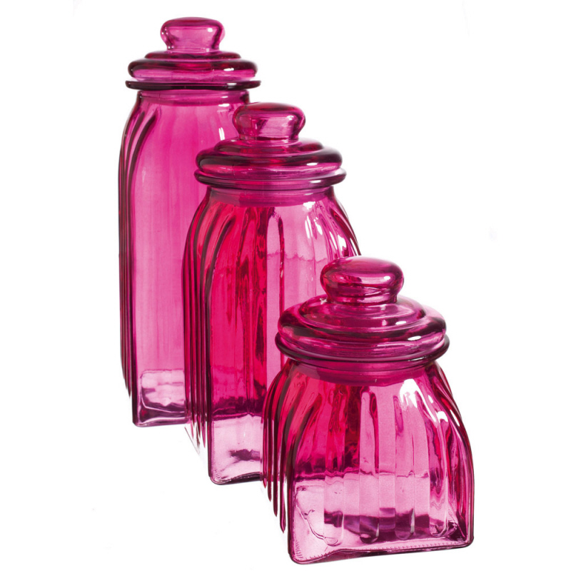 new hot pink glass jars 3pc canisters kitchen decor kitchen canisters photho for inside kitchen canister sets