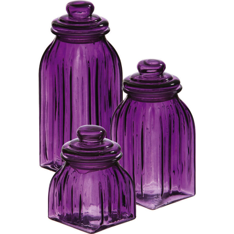 new purple glass jars 3pc canisters kitchen decor storage purple kitchen canisters dezinox purple stainless steel