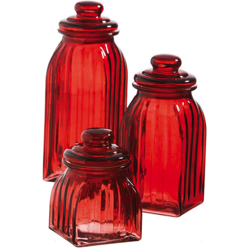 Red Kitchen Glassware: New 3pc Ruby RED GLASS JAR CANISTERS Kitchen Decor Food