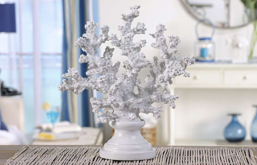 New white coral pedestal shelf decoration coastal home for Coral decorations for home