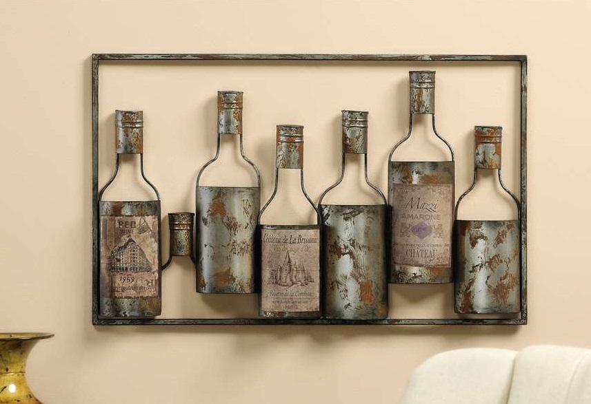 new iron vintage wine bottle wall plaque bar dining room decor 24x15 picture art ebay. Black Bedroom Furniture Sets. Home Design Ideas