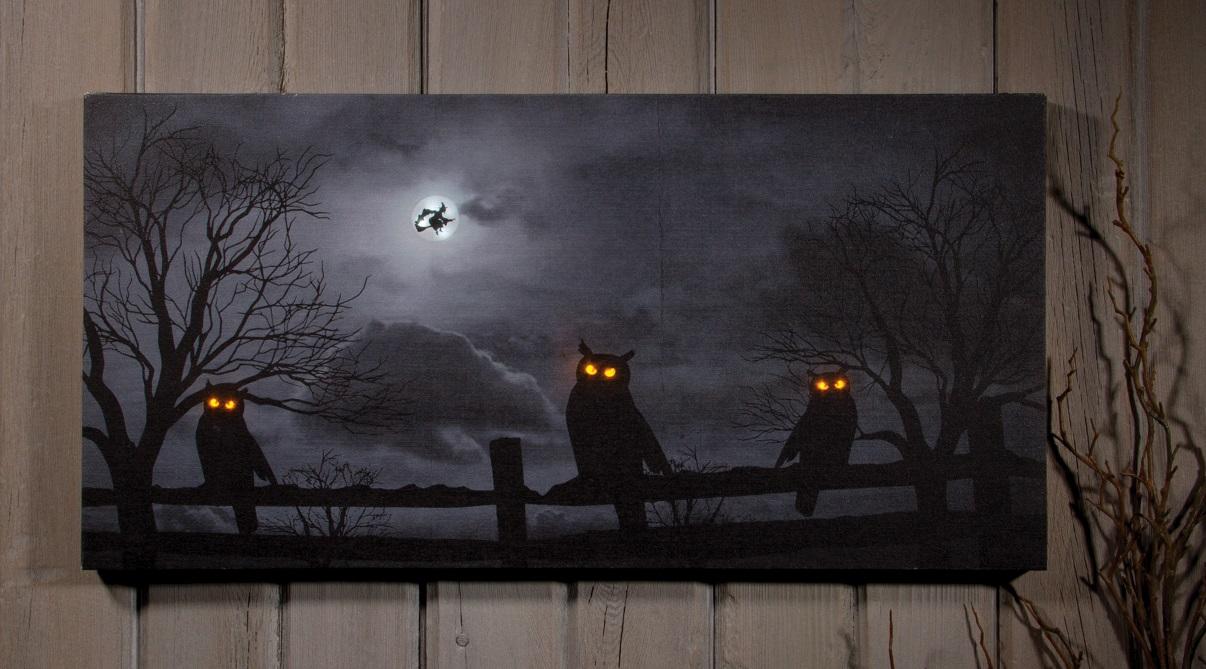 Wall Decor Halloween : Spooky halloween led lighted owl witch art print wall