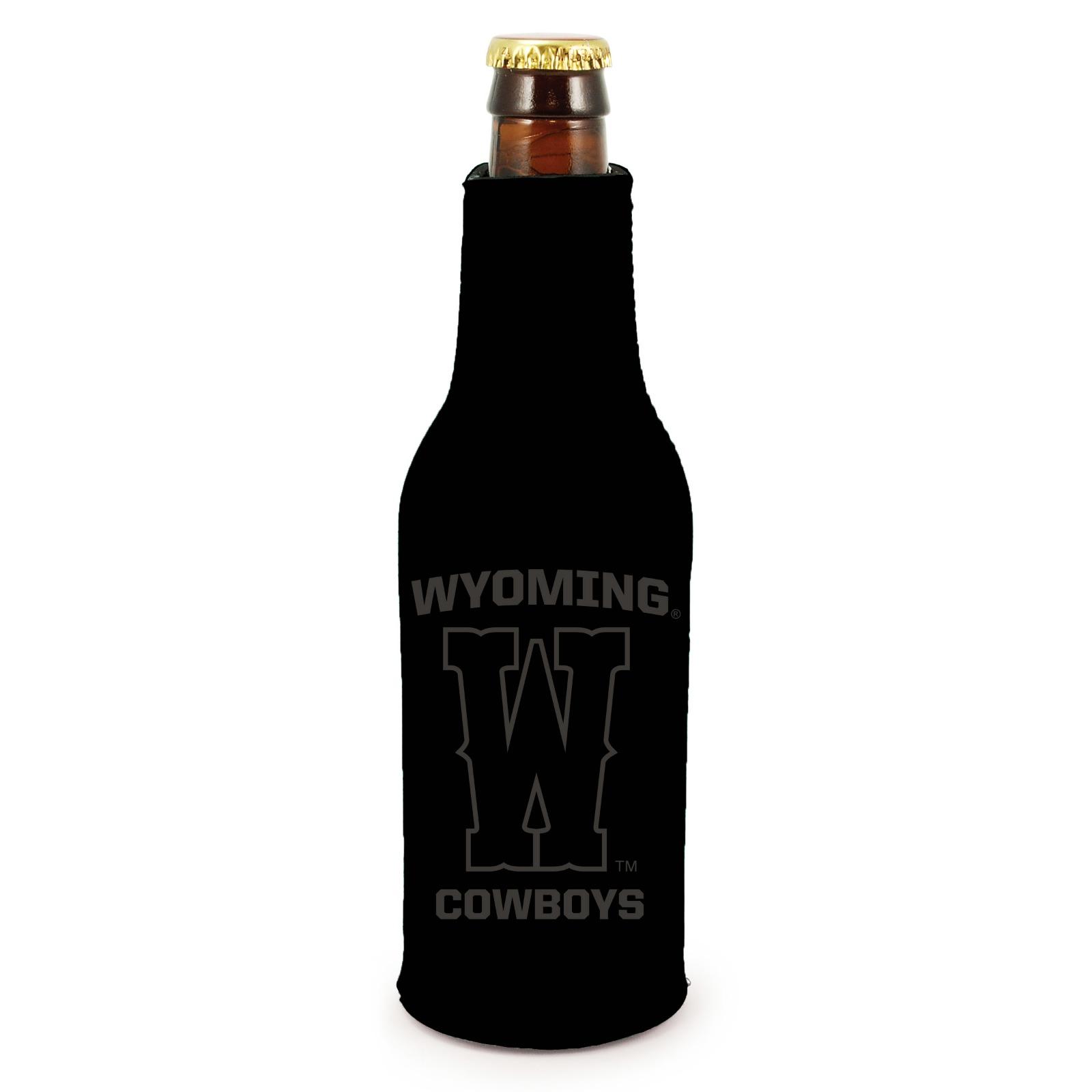 Wisconsin Badgers 2-Pack Zipper Bottle Tonal Black Beverage Insulator Neoprene Holder Cooler University of