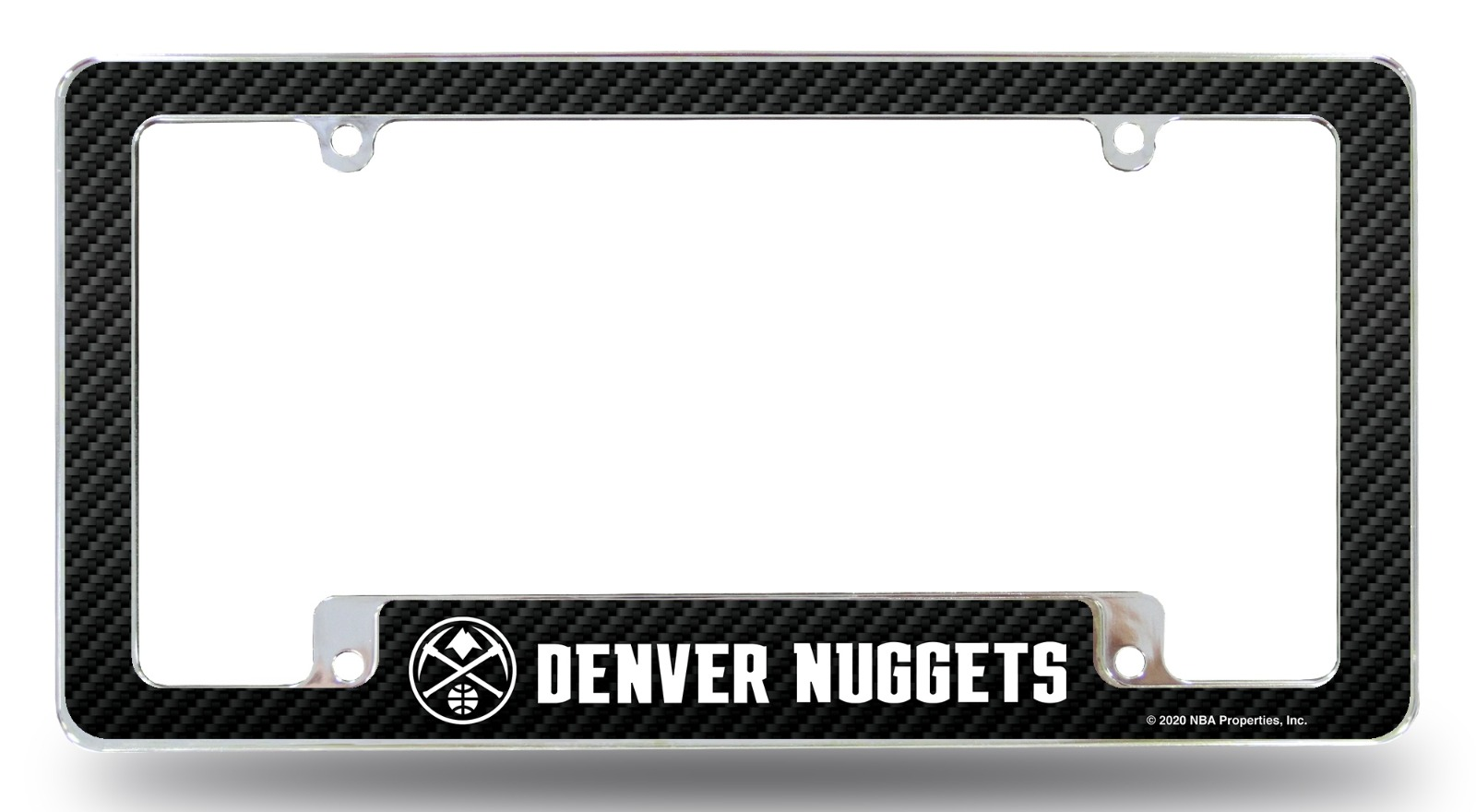 Denver Nuggets Metal License Plate Frame EZ View Carbon Fibe