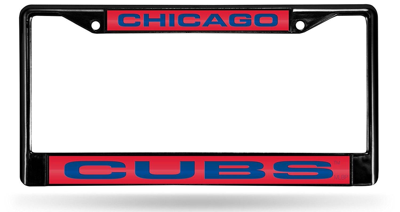Chicago Cubs BLACK Premium LASER FRAME Metal License Plate Cover Tag ...