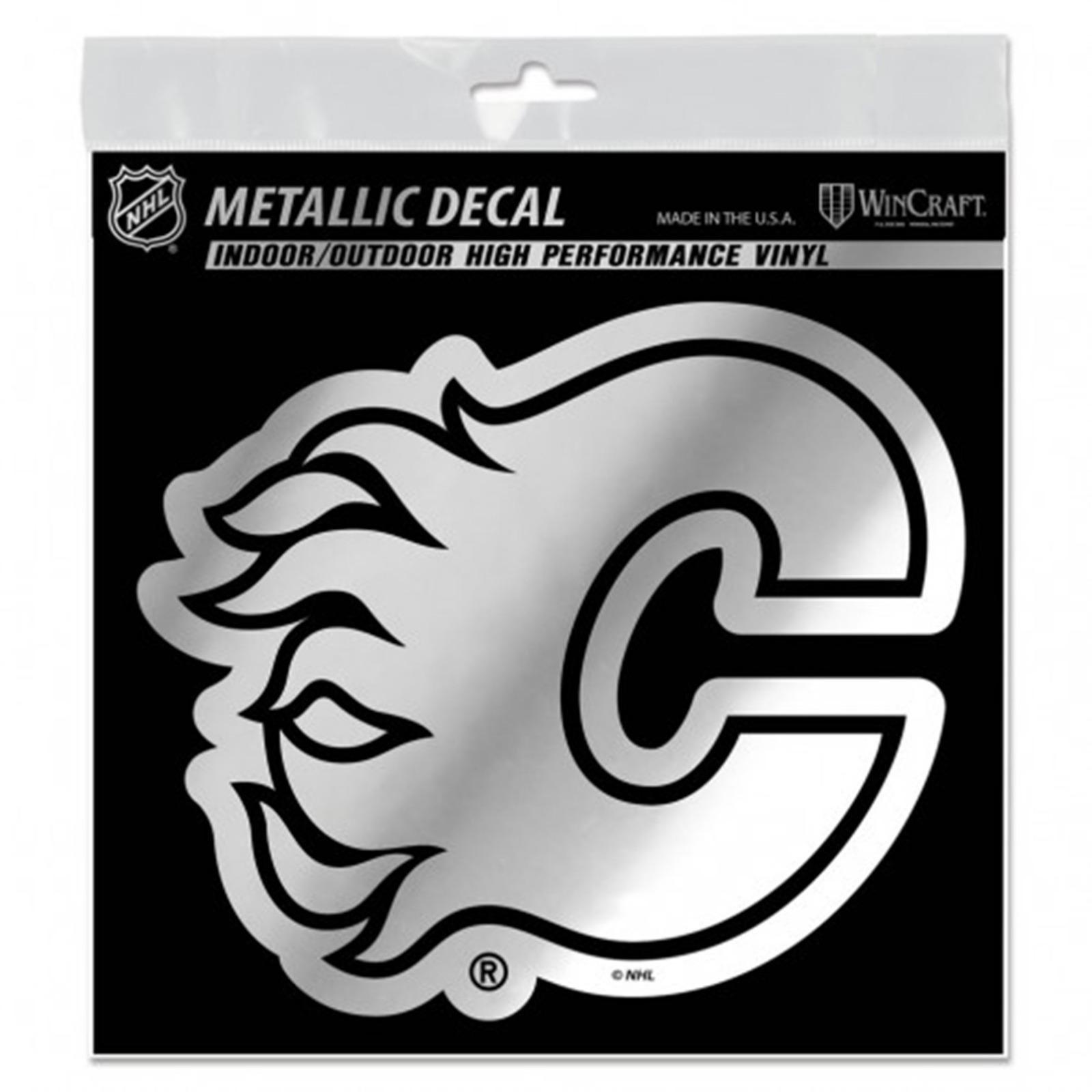 Calgary Flames 6 Silver Metallic Style Decal Die Cut Sticker Vinyl Auto Hockey 99606239709 Ebay