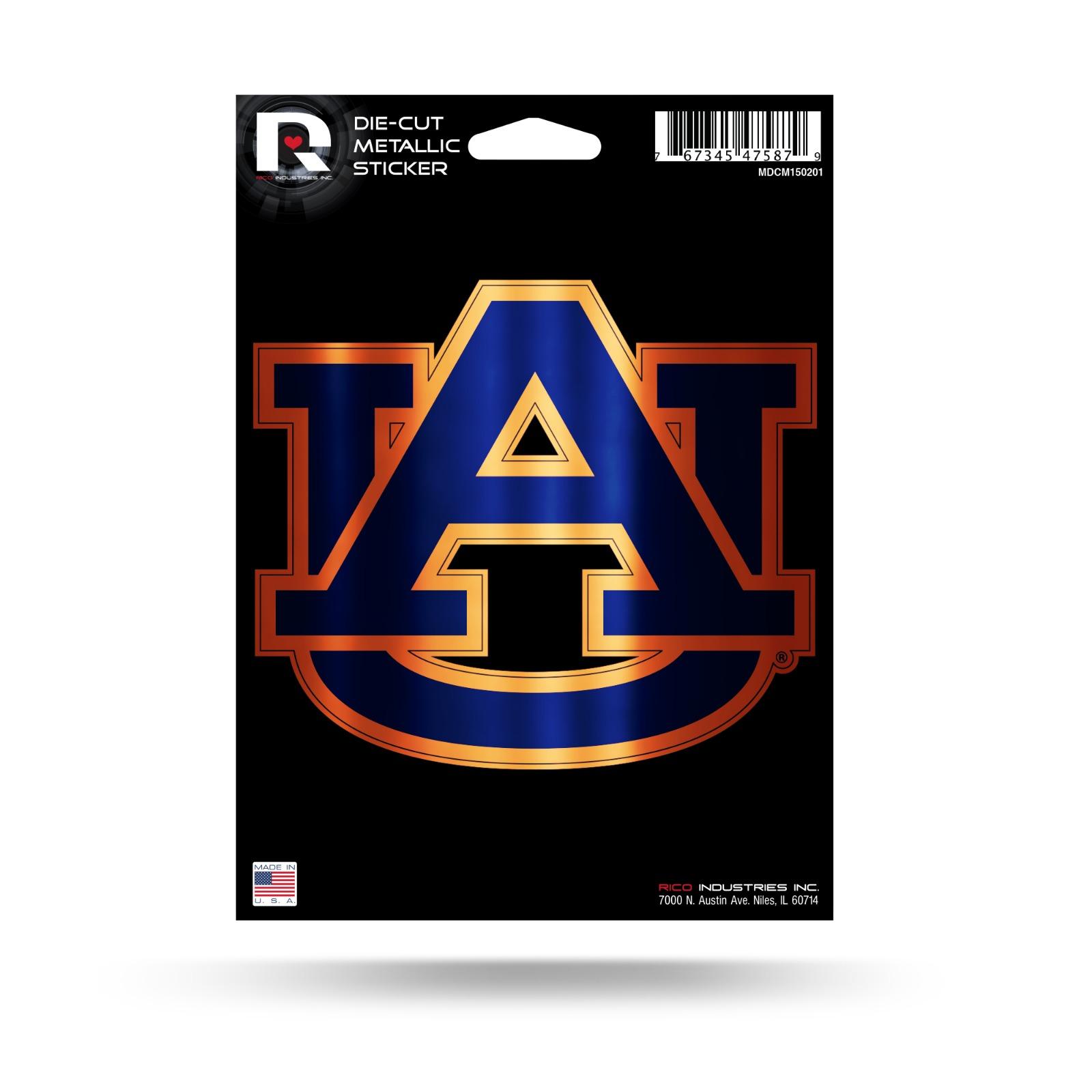 Auburn tigers rico 5 metallic decal die cut auto sticker emblem university of
