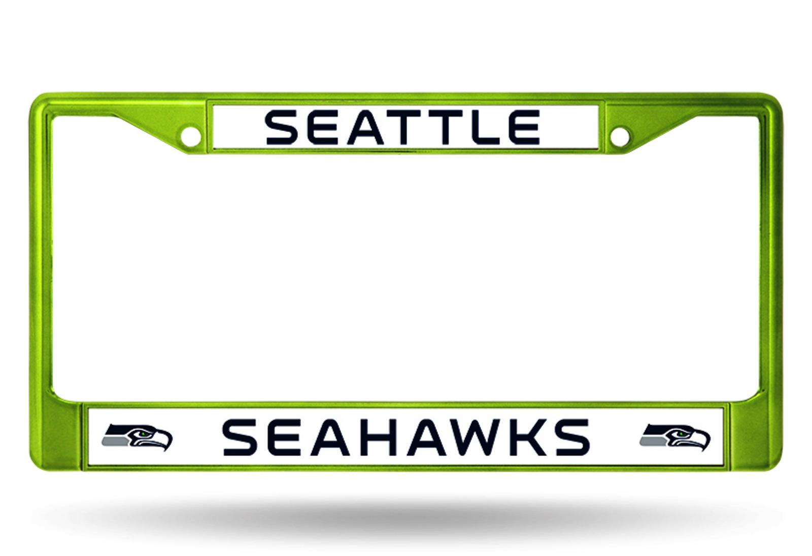 Seattle seahawks green frame metal chrome license plate tag cover seattle seahawks green frame metal chrome license plate tag cover football jeuxipadfo Choice Image