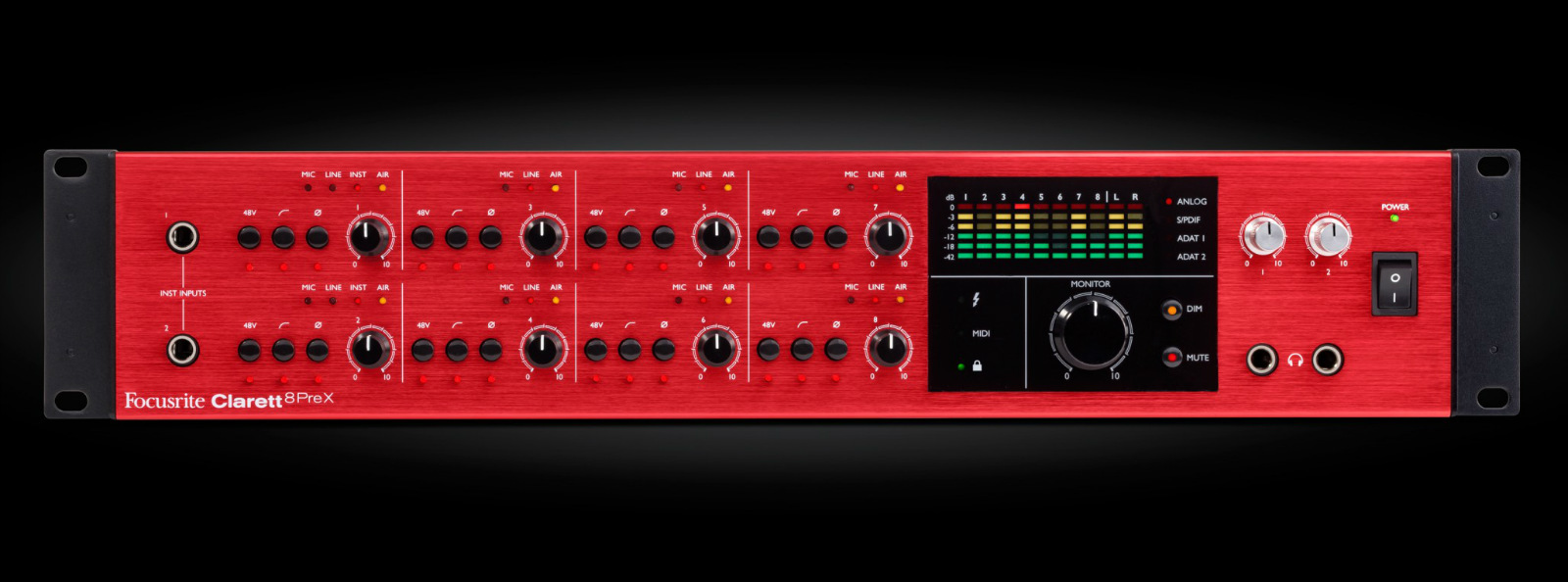 Focusrite Clarett 8PreX 26-In/28-Out Thunderbolt A