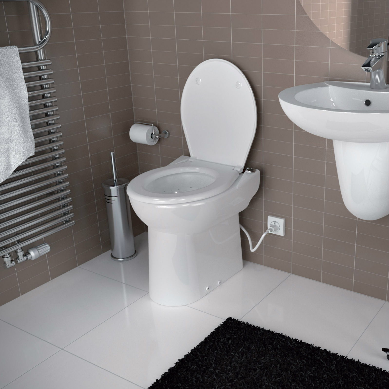 Saniflo depot upflush toilets half bathroom sanicompact for Home washroom