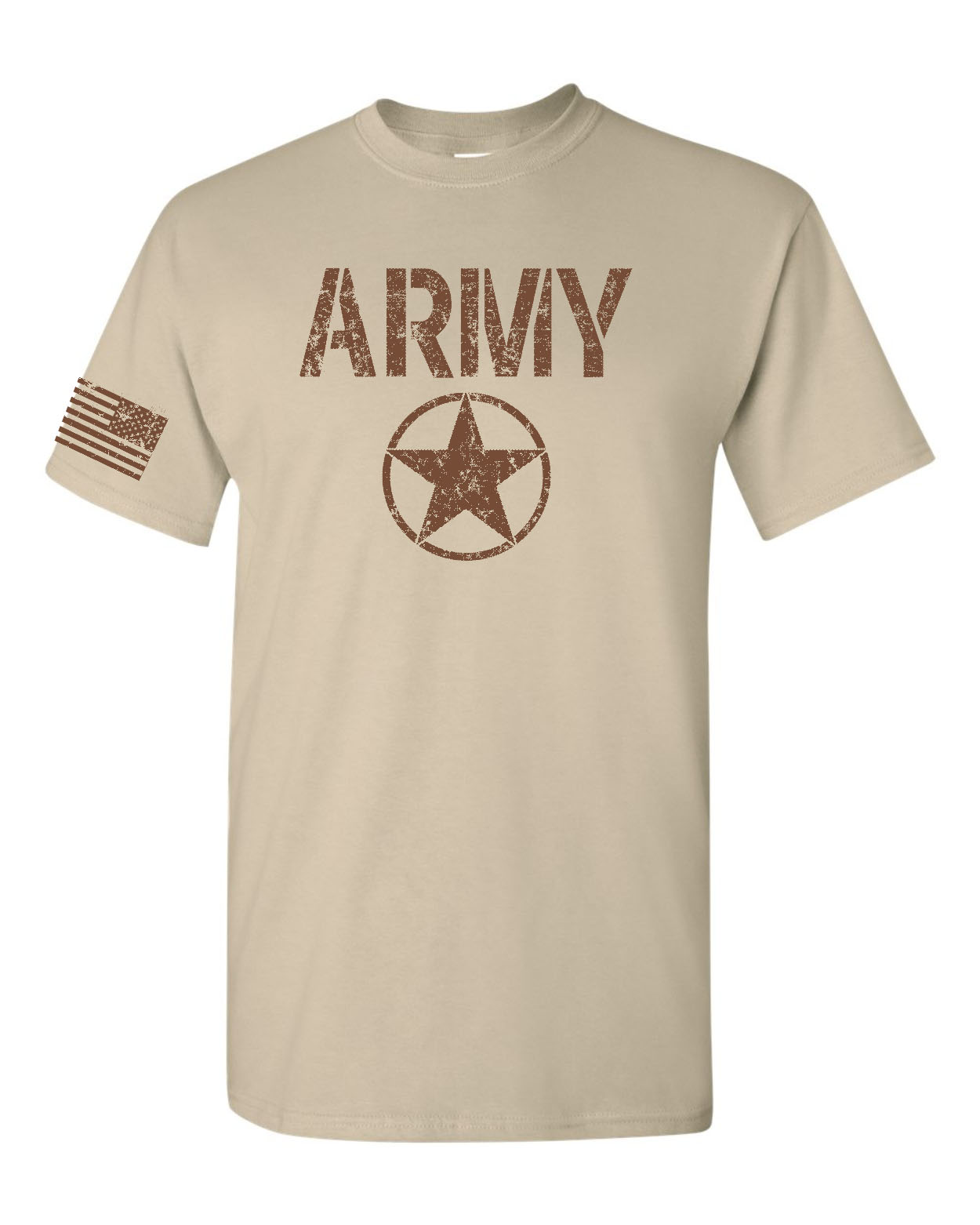 79750c5859ac United States ARMY Star US FLAG on Sleeve Sand w/Brown Men's Tee Shirt 1757