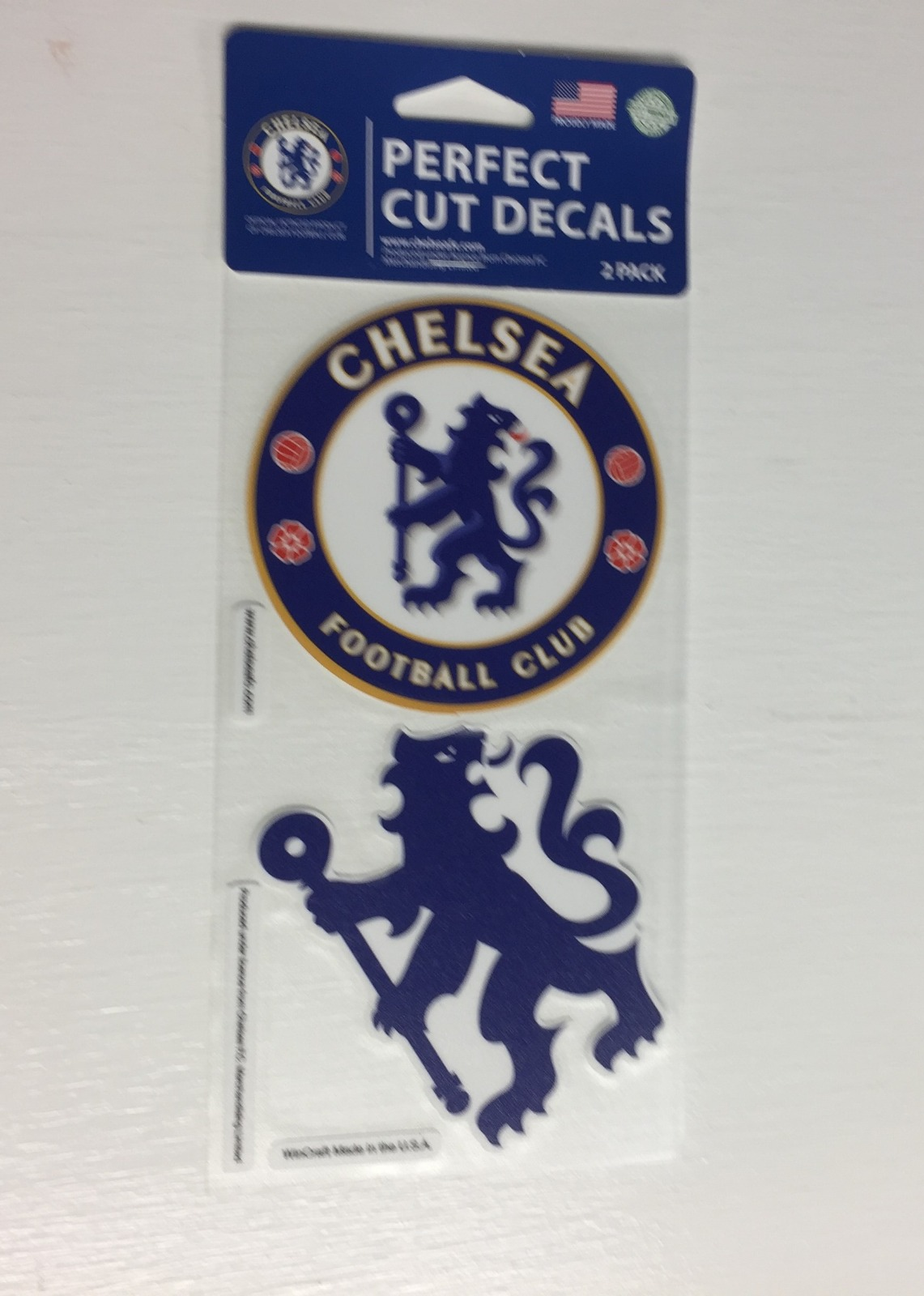 OFFICIAL CHELSEA FC PERFECT CUT DECAL SET OF TWO 4 X 4