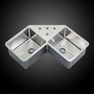 Undermount Corner Kitchen Sinks Stainless Steel : ... Undermount Stainless Steel Double Bowl Corner Butterfly Kitchen Sink