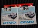 2 New Genuine OEM Dymo D1 Label Cassettes Blk/Wht