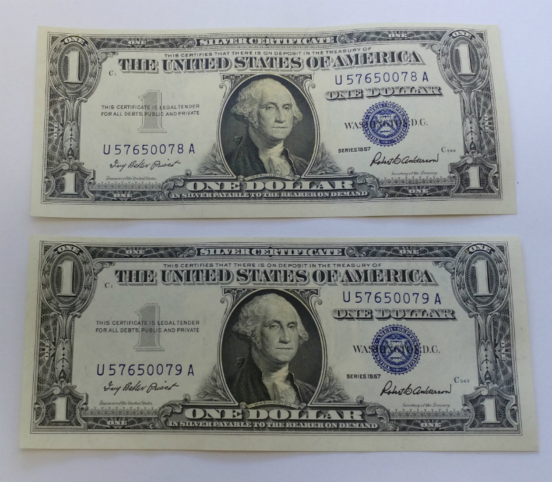 Two Consecutive 1957 1 One Dollar Silver Certificate Notes Bills