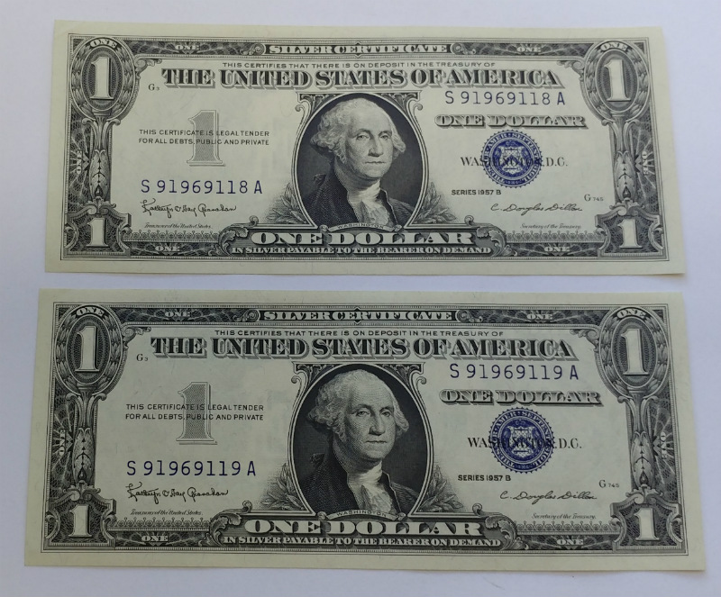 Two Consecutive 1957 B 1 One Dollar Silver Certificate Notes Bills