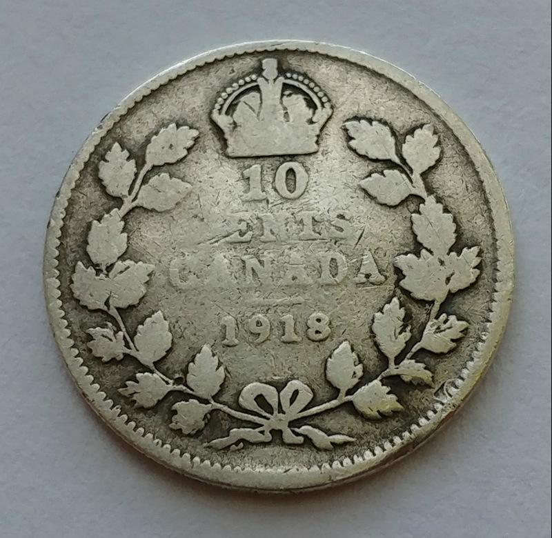 Very Fine 1918 Canada Silver 10 Cents