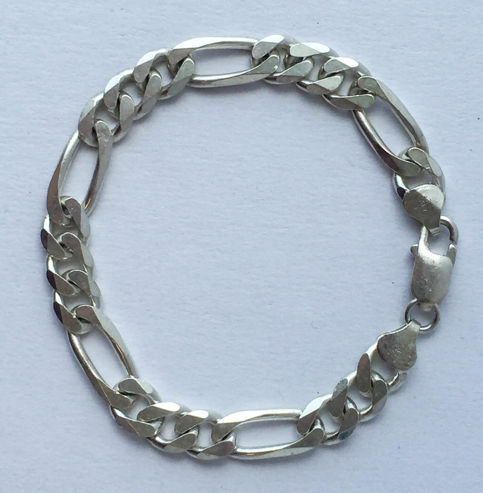 Silver Chain Link Bracelet: ESTATE JEWELRY 8 MM WIDE .925 STERLING SILVER FIGARO CHAIN