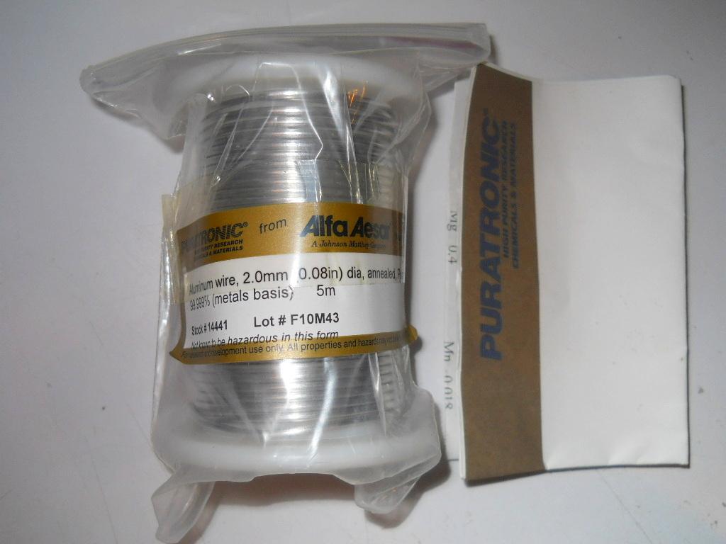 New 5m Alfa Aesar Puratronic 20mm 008 Dia Annealed Aluminum Wiring Hazards
