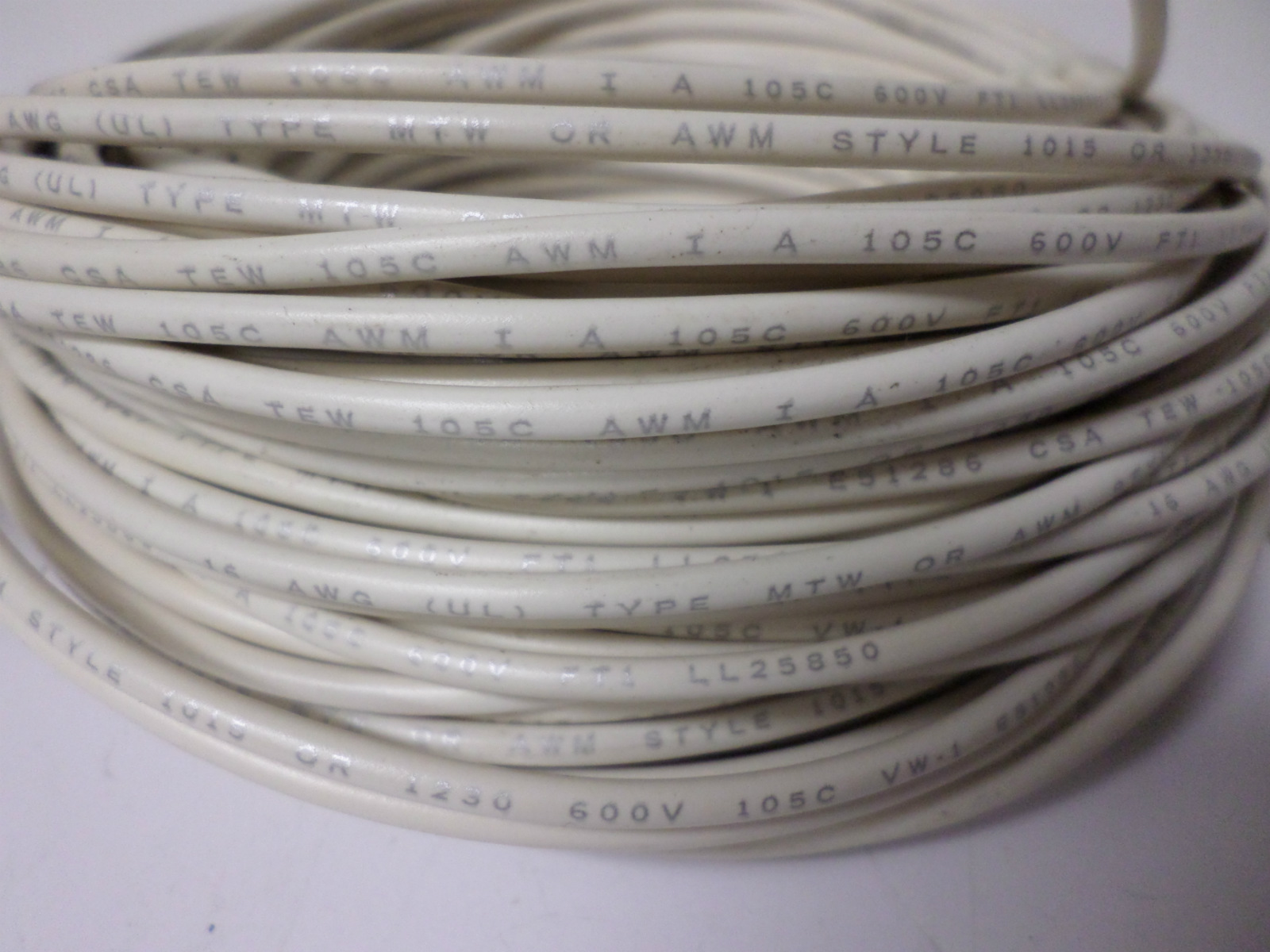 Approx. 110ft New Southwire 16 AWG White Hook-Up Wire, 600V, E51286 ...